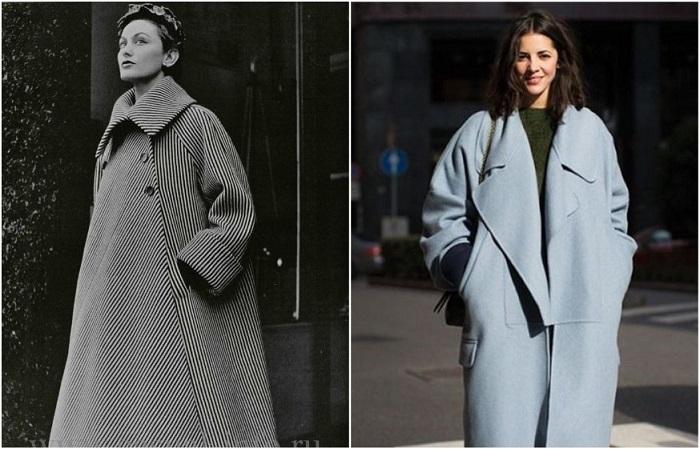 Пальто слева - из коллекции Баленсиага 1957 года