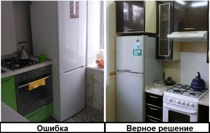 Плита в непосредственной близости к холодильнику может привести к его поломке