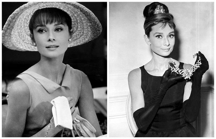 Одри любила массивные украшения и широкополые шляпы