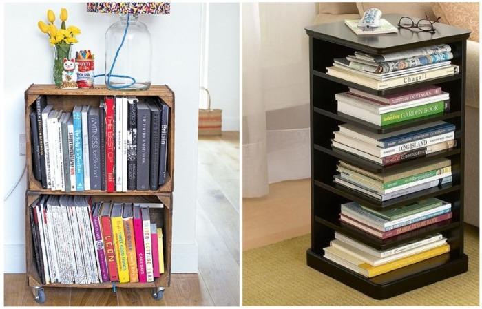 Книги можно хранить в журнальном столике или в деревянном поддоне