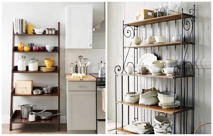 На стеллажах можно хранить посуду, емкости для хранения