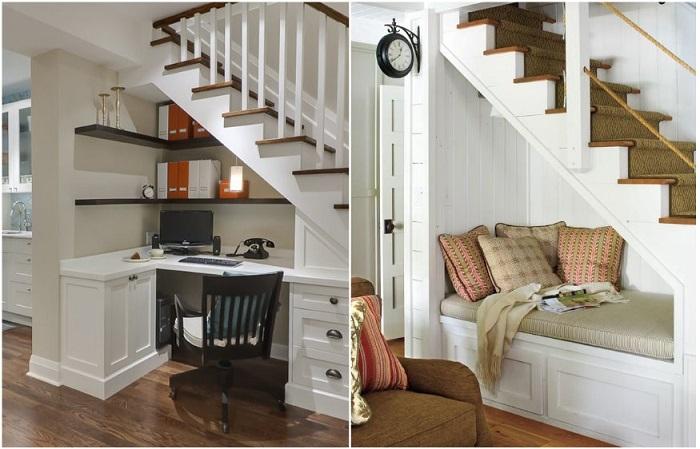 Под лестницей можно оборудовать офис или зону отдыха