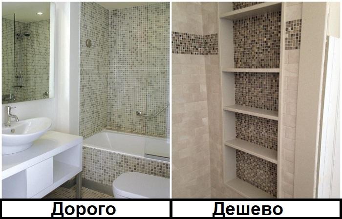 Мозаику лучше использовать для акцента на нише
