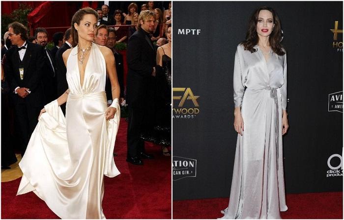 Анджелина Джоли в роскошных платьях из атласа