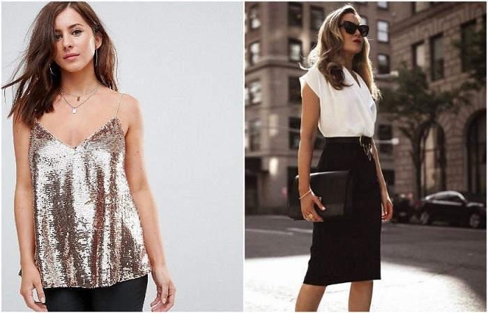 Блуза с пайетками и контрастные цвета в одежде увеличивают грудь. / Фото: Zen.yandex.com