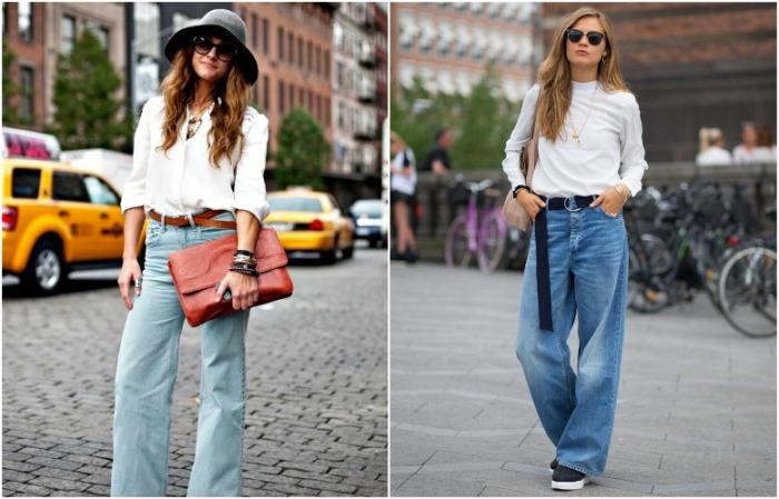 Широкие джинсы подойдут для повседневных и романтичных образов