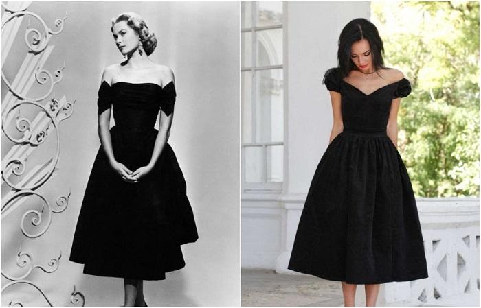 Черное платье с пышной юбкой отлично подходит для выхода в свет