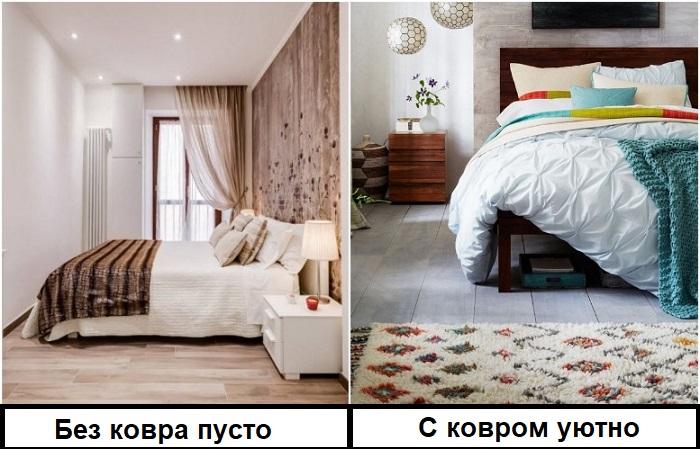 Без ковра спальня выглядит пустой
