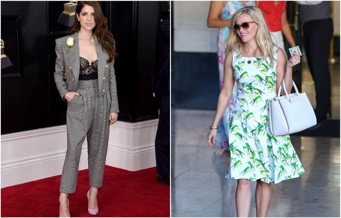 Риз Уизерспун и Анна Кендрик выбирают платья ниже колена и костюмы