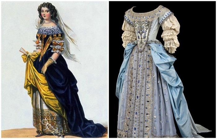 Верхнее платье - роб, а нижнее - котт