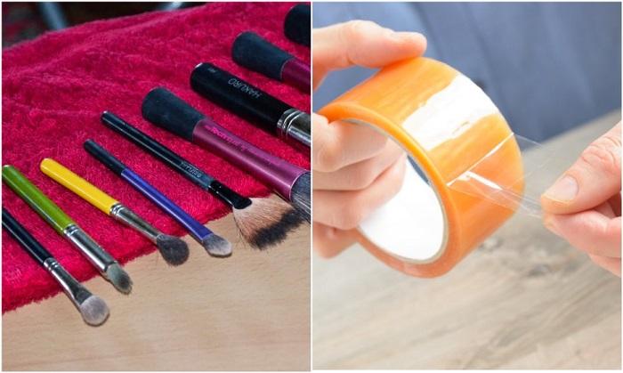 Скотч помогает очистить кисти для макияжа от пыли и косметики