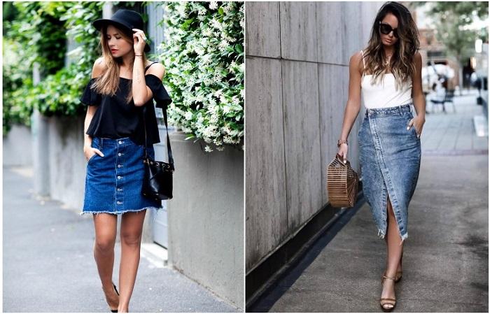 Джинсовая юбка может быть длиной как до колена, так и ниже
