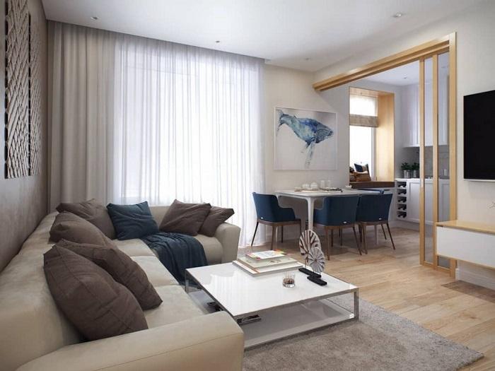 Если комната большая, мебель не нужно ставить около стены. / Фото: design-homes.ru