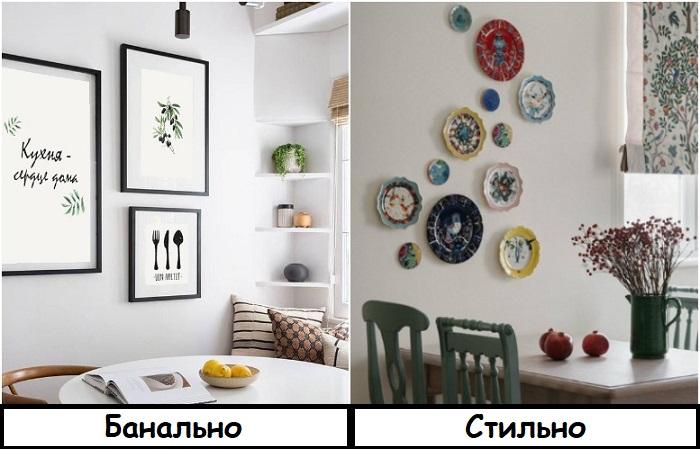 Вместо банальных постеров украсьте кухню коллекцией посуды