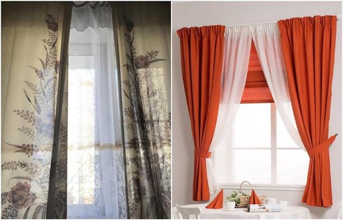 Старые шторы с пестрым рисунком нужно менять на более современные варианты