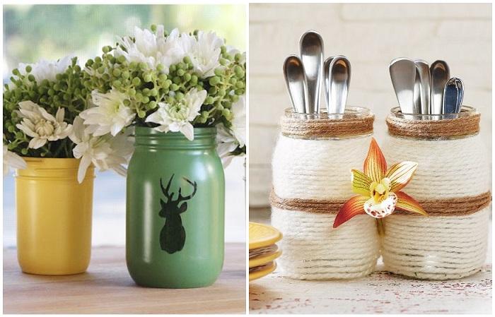Из стеклянных банок можно сделать вазу либо подставку под столовые приборы