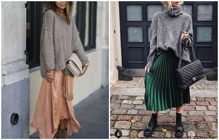 Легкое платье и юбка хорошо смотрятся со свитером