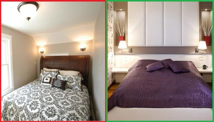 Между кроватью и стенами должно оставаться свободное место, например, для тумб