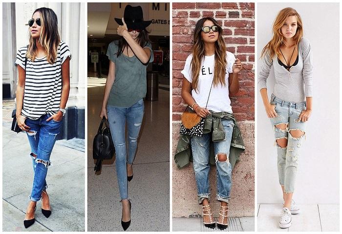 Идеальный вариант для летнего отдыха - светлые и рваные джинсы. / Фото: ninetrends.ru