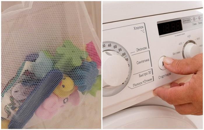 Сложите игрушки в сетчатый мешок и отправьте в стиральную машину