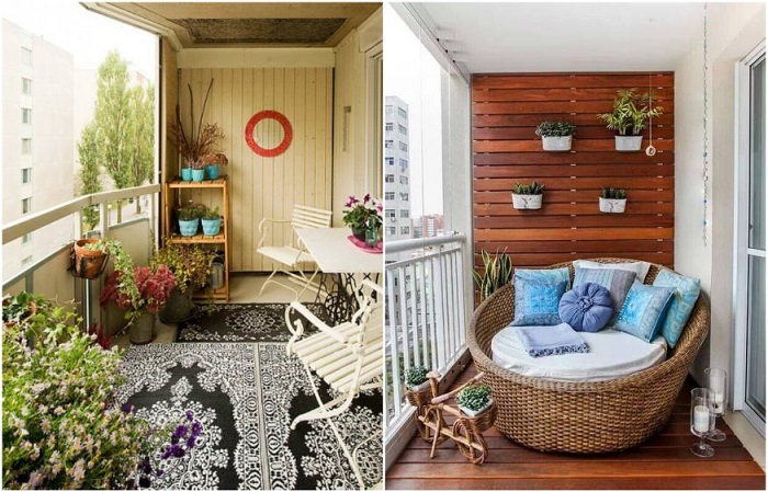 На балконе можно устроить место для отдыха или обеденную зону