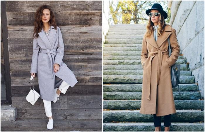 Пальто-халат с поясом выглядит очень женственно