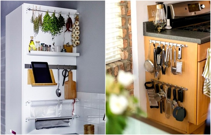 На стенках шкафчиков можно расположить крючки для кухонных принадлежностей