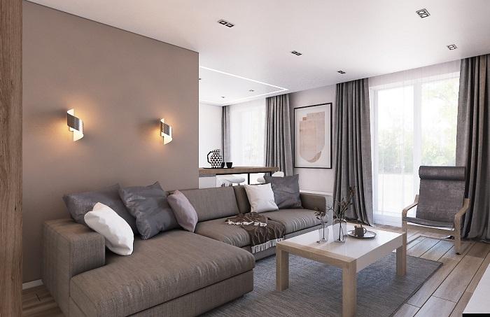 Коричневый и серый прекрасно сочетаются друг с другом. / Фото: dd-interior.by