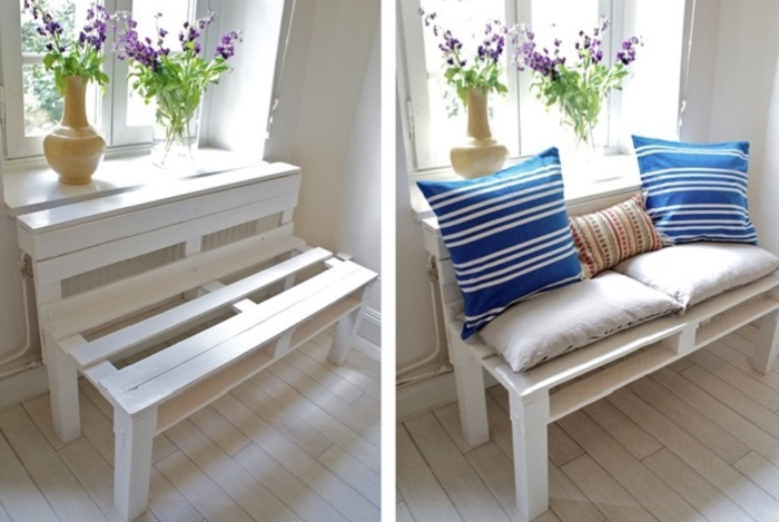 Из деревянных ящиков можно сделать отличную скамейку. / Фото: 9ban.ru