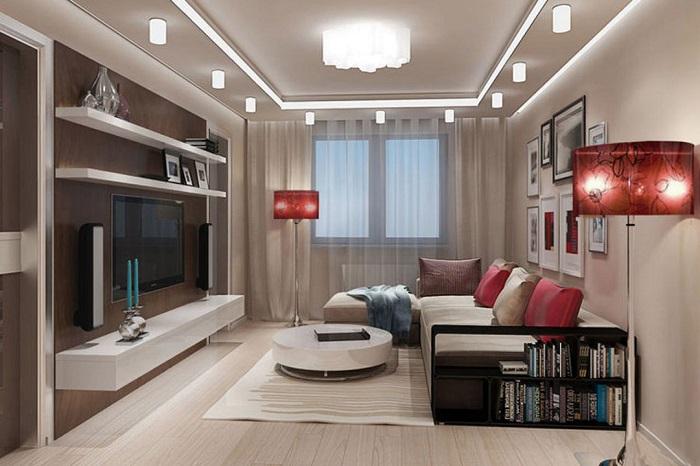 Если гостиная большая, можно обустроить несколько зон. / Фото: roomester.ru
