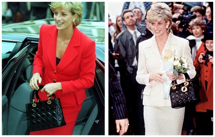 Принцесса Диана с любимой сумкой от Dior