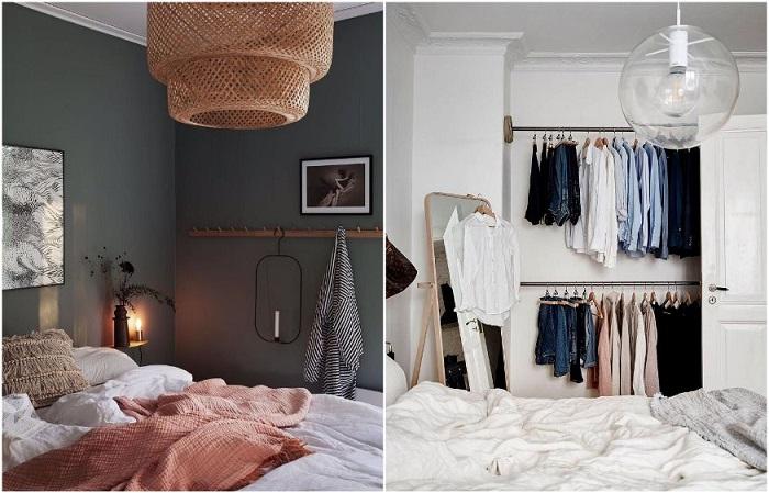 Правильно организованное открытое хранение добавляет спальне шика