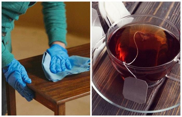 Чайная заварка придаст деревянной мебели блеска