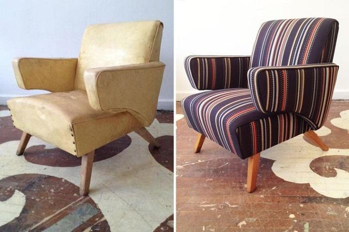 Обивка полностью меняет внешний вид мебели. / Фото: pinterest.ru