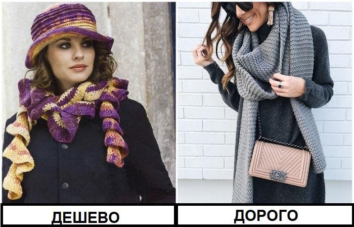 Длинный вязаный однотонный шарф выглядит уютно и стильно