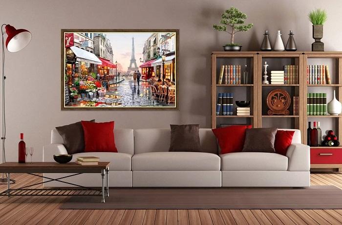 Большая картина станет акцентом в комнате. / Фото: polsov.com