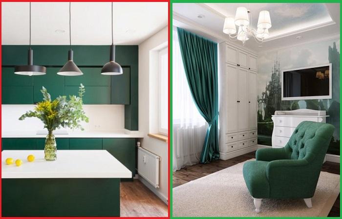 Темно-зеленый цвет отлично смотрится в классическом интерьере гостиной