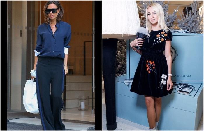Виктория Бекхэм и Яна Рудковская выбирают платья а-силуэта и широкие брюки