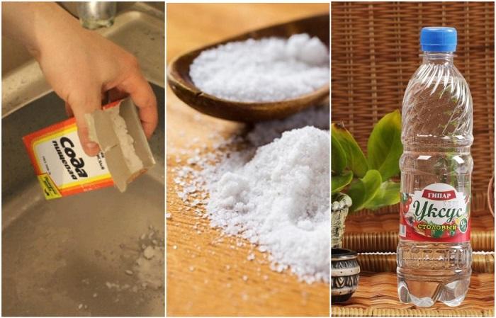 Соль усиливает эффект от соды и уксуса