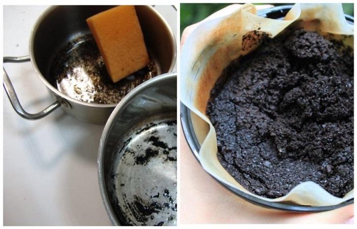 Кофейная гуща поможет избавиться от пятен и налета