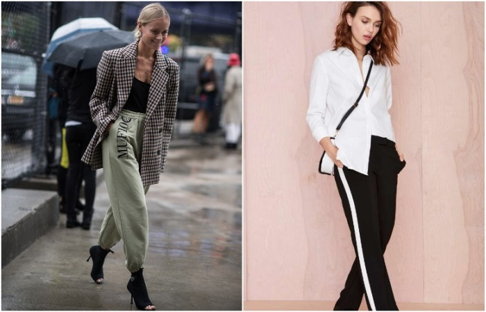 Спортивные брюки можно сочетать с пиджаком и рубашкой