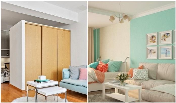 Вместо массивного шкафа лучше использовать зонирование цветом