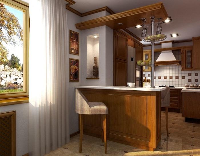 Барная стойка подходит только для зонирования пространства. / Фото: Budvtemi.com