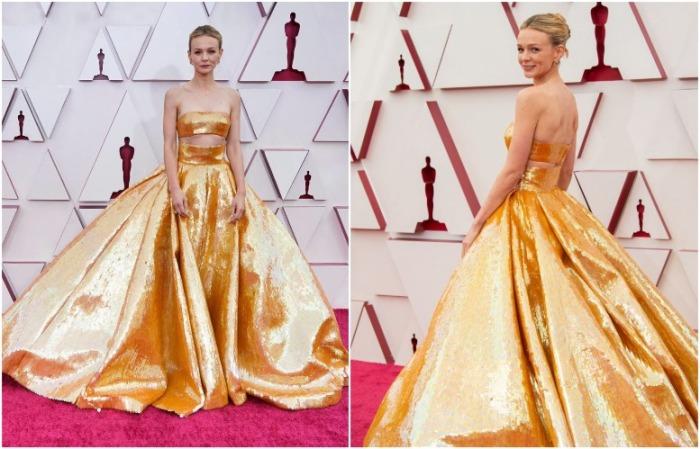 Кэри Маллиган в золотом платье от Valentino