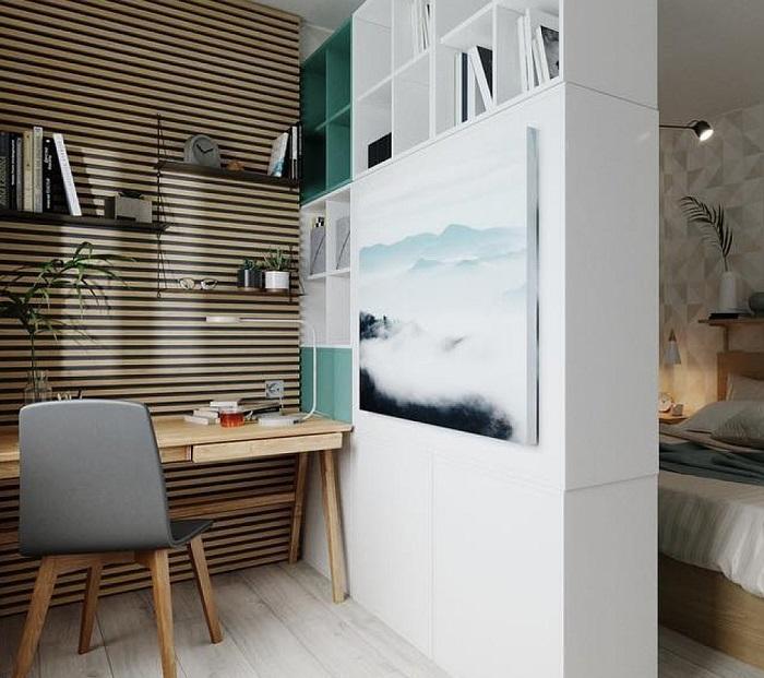 Зонировать комнату можно при помощи шкафа. / Фото: Comod.by