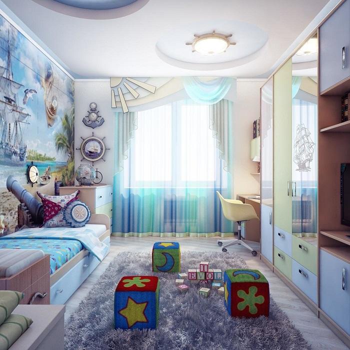 Комната в морском стиле вскоре надоест ребенку. / Фото: Decorationinfo.ru