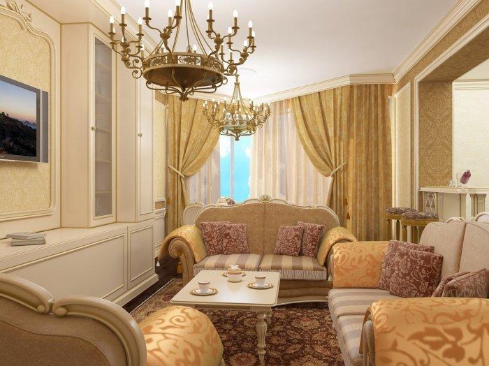 Роскошная гостиная в стиле бароко. / Фото: Derufatb.com
