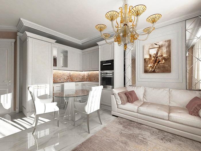 Роскошная и вычурная кухня-гостиная в стиле неоклассика. / Фото: Dizajn-gostinoj.com
