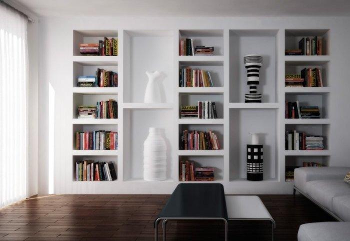 Фальшивый книжный стеллаж в гостиной. / Фото: Furniturelab.ru