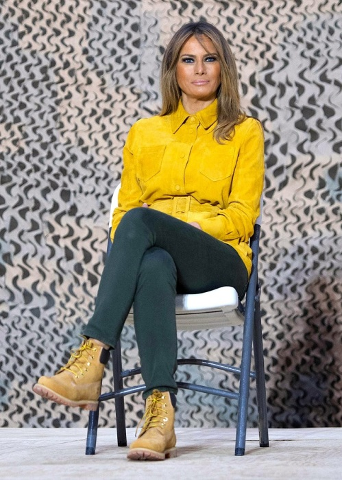 Мелания Трамп в ботинках от американского бренда Timberland. / Фото: Peopletalk.ru